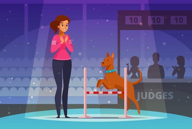 Composición de dibujos animados de competencia de mascotas