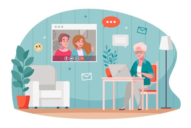 Composición de dibujos animados de comunicación de video de personas mayores con anciana charlando con niños usando laptop