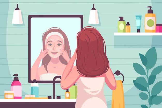 Composición de dibujos animados para el cuidado de la piel con una mujer joven en el baño que alisa la máscara sobre su ilustración de la cara