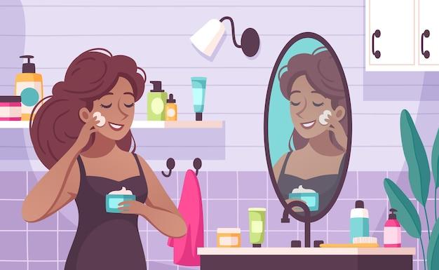 Composición de dibujos animados para el cuidado de la piel con una mujer joven que aplica humectante nutritivo en su rostro en la ilustración del baño