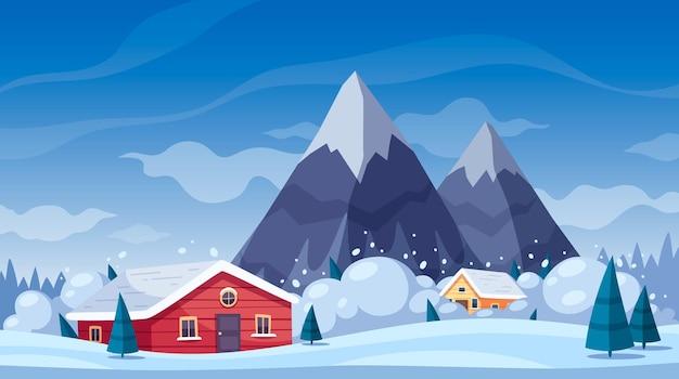 Composición de dibujos animados de desastres naturales con paisaje invernal y montañas con avalancha de nieve deslizándose sobre casas vivas