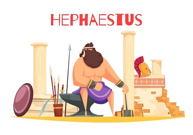 Composición de dibujos animados de dioses griegos con una poderosa figura de hefesto sentado sobre el yunque y sosteniendo una ilustración plana de martillo