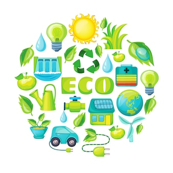 Composición de dibujos animados de ecología