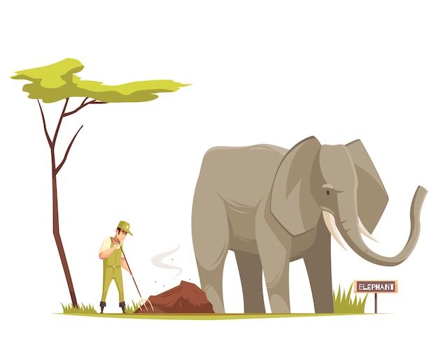 Composición de dibujos animados de elefante en el zoológico