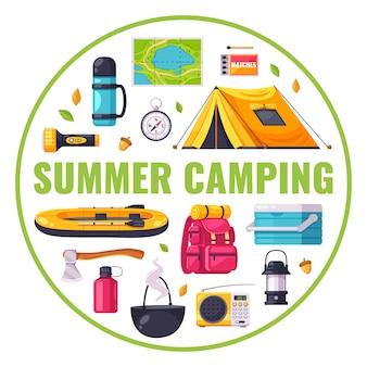Composición de dibujos animados con equipo para iconos de camping de verano en círculo