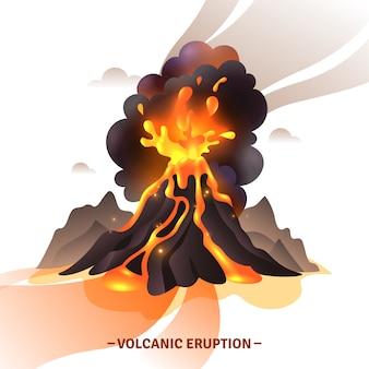 Composición de dibujos animados de erupción volcánica con saludo de cenizas de magma y humo volando de la ilustración del volcán
