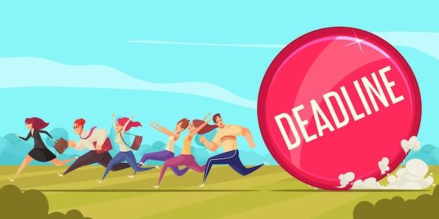 Composición de dibujos animados de fecha límite con gente de negocios corriendo a la oficina para realizar una ilustración de trabajo urgente