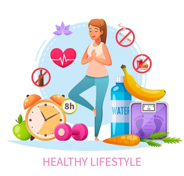 Composición de dibujos animados de hábitos de estilo de vida saludable con mujeres no fumadoras que practican la dieta de sueño de 8 horas de yoga para aliviar el estrés