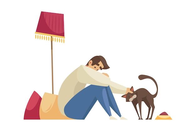 Composición de dibujos animados con hombre solitario sentado en el suelo y acariciando a la mascota