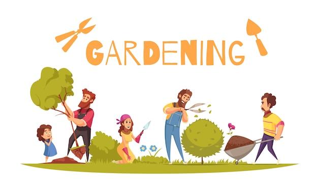 Composición de dibujos animados de horticultura adultos y niños durante diversas actividades agrícolas sobre fondo blanco.