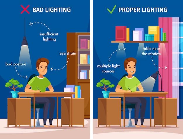 Composición de dibujos animados de iluminación del lugar de trabajo
