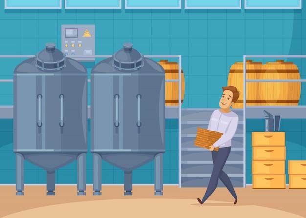 Composición de dibujos animados de instalaciones de producción de miel