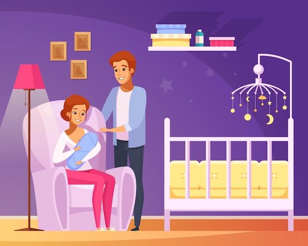 Composición de dibujos animados de lactancia materna
