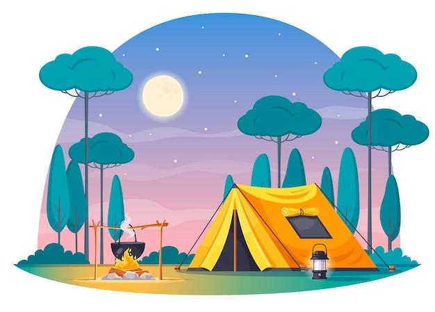 Composición de dibujos animados de lugar de campamento con bote de lámpara de carpa amarilla con cena en el cielo nocturno de fuego