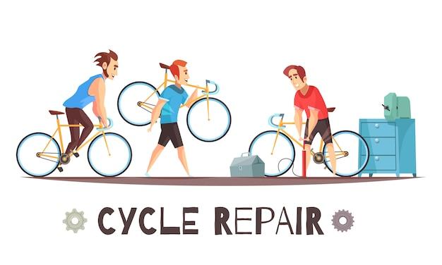 Composición de dibujos animados mecánico de reparación de bicicletas