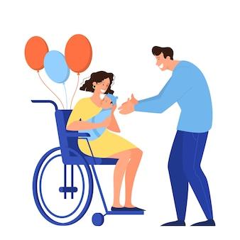 Composición de dibujos animados con padres con bahía recién nacida. la mujer sostiene a un bebé, sentada en una silla de ruedas, el hombre se convirtió en papá.