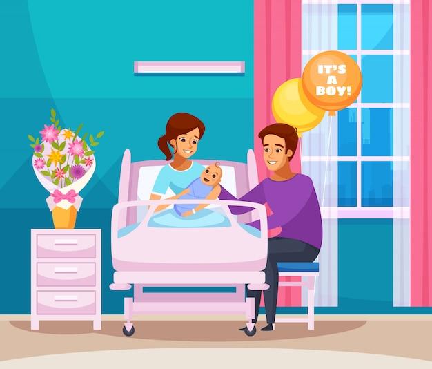 Composición de dibujos animados de parto