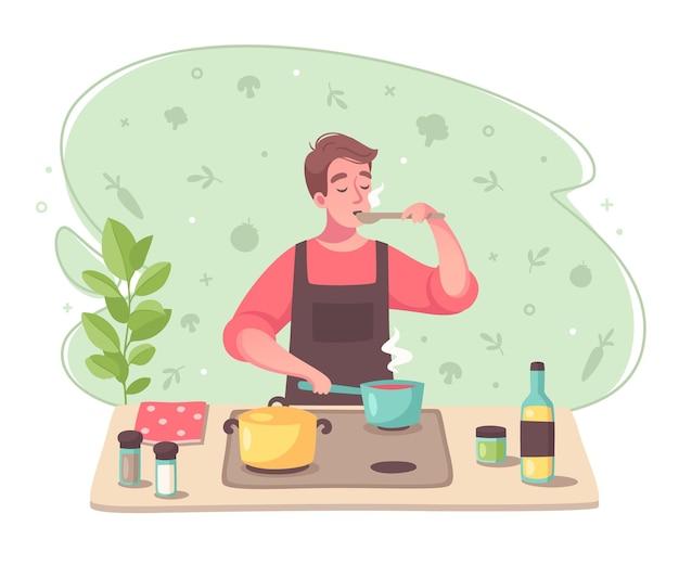 Composición de dibujos animados de pasatiempos con hombre degustando sopa al cocinar haciendo platos