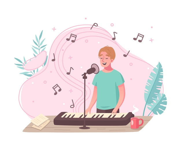 Composición de dibujos animados de pasatiempos con joven cantando mientras toca el piano electrónico