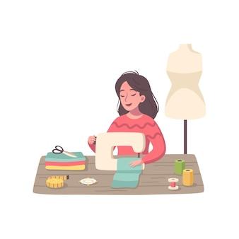 Composición de dibujos animados de pasatiempos con personaje femenino que trabaja con máquina de coser
