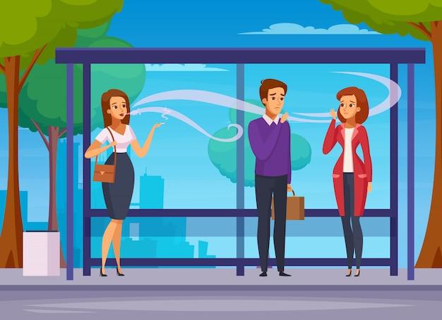 Composición de dibujos animados de peligro de fumar