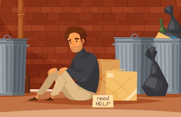 Composición de dibujos animados de personas sin hogar con triste pobre hombre sin hogar se sienta en el suelo con la placa de identificación necesita ayuda