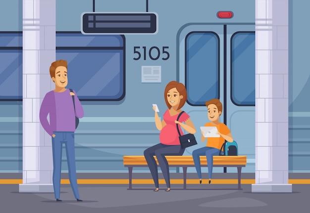 Composición de dibujos animados de personas subterráneas de metro