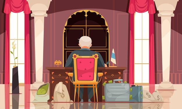 Composición de dibujos animados planos de corrupción política con funcionario gubernamental corrupto en el cargo