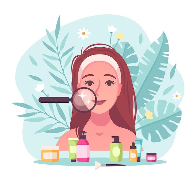 Composición de dibujos animados planos de cuidado de la piel con mujer joven examinando su rostro con lupa
