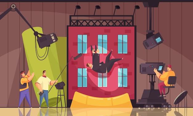 Composición de dibujos animados de proceso de filmación de películas de movimiento de cine con ejecutante de acrobacias cayendo desde el techo del edificio