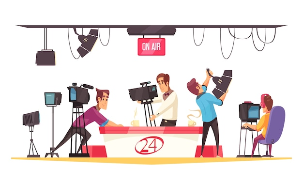 Composición de dibujos animados de redes sociales con periodista frente a monitor y camarógrafos con ilustración plana de cámara de video