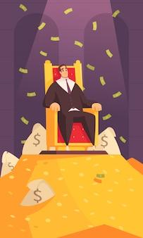 Composición de dibujos animados de símbolo de riqueza de hombre rico con millonario en trono en la cima del monte de oro bañándose en dinero