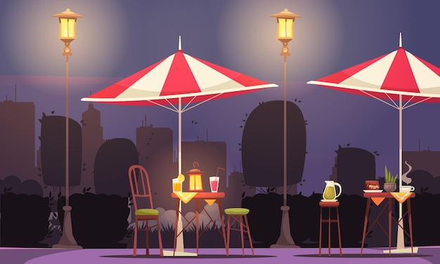 Composición de dibujos animados de street cafe con mesas cócteles bebidas sombrillas a la luz de la linterna