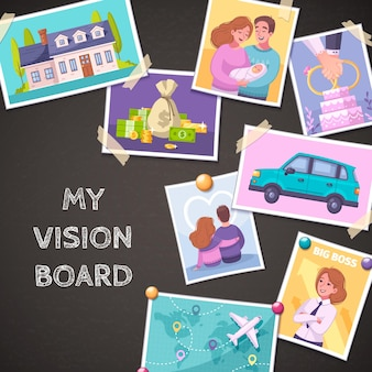 Composición de dibujos animados de tablero de visión con ilustración de símbolos de coche y casa