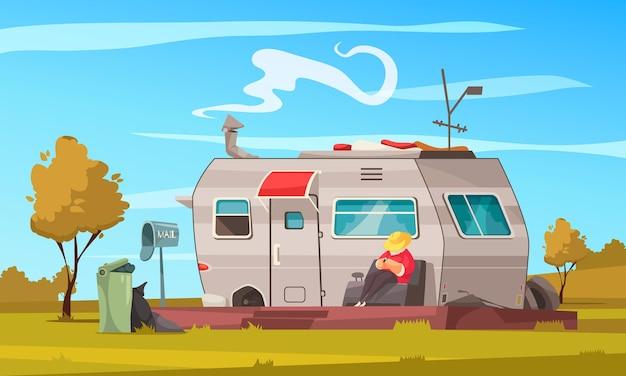 Composición de dibujos animados de vacaciones de verano de remolque de vehículo recreativo con un hombre disfrutando de la naturaleza sentado fuera de la ilustración de la casa móvil