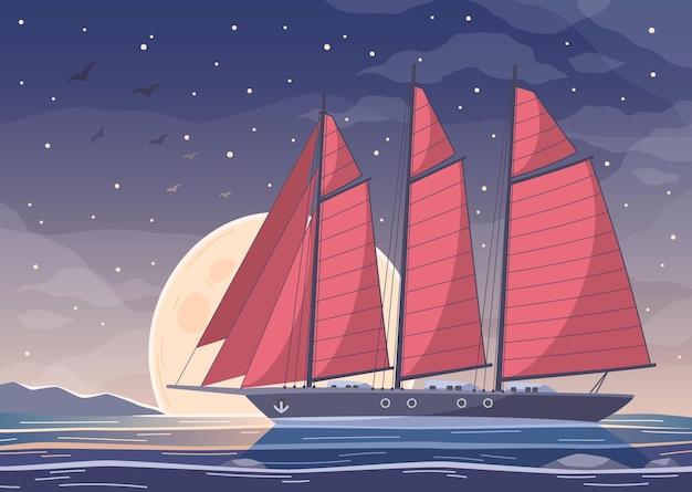 Composición de dibujos animados de yates de barco grande con velas rojas que cruzan el agua de la bahía en el cielo nocturno