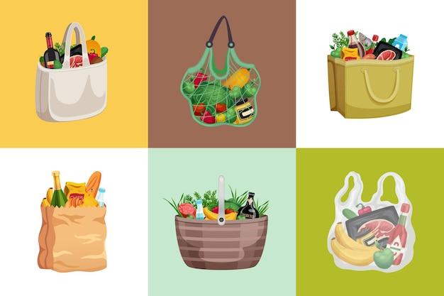 Composición de diseño de bolsa de compras con un conjunto de composiciones cuadradas con bolsas de red de papel llenas de productos.
