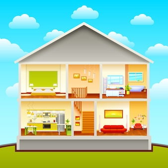 Composición de diseño de interiores de casas