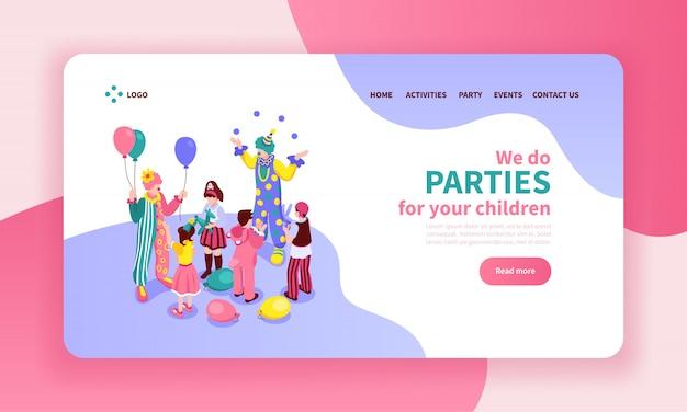 Composición del diseño de la página web del color del animador isométrico para niños con botones de clic y enlaces de artistas
