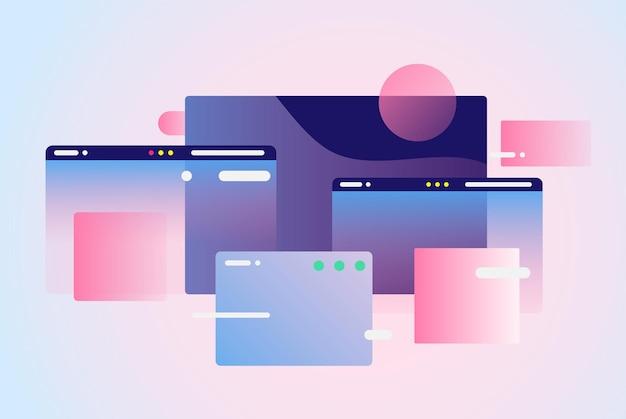 Composición de diseño de páginas web fondo de red inteligente creativa gradiente de formas geométricas
