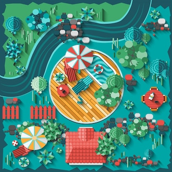 Composición del diseño del paisaje