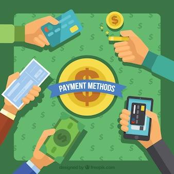 Composición de diseño plano con modos de pago