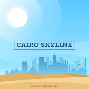 Composición de diseño plano con skyline de el cairo