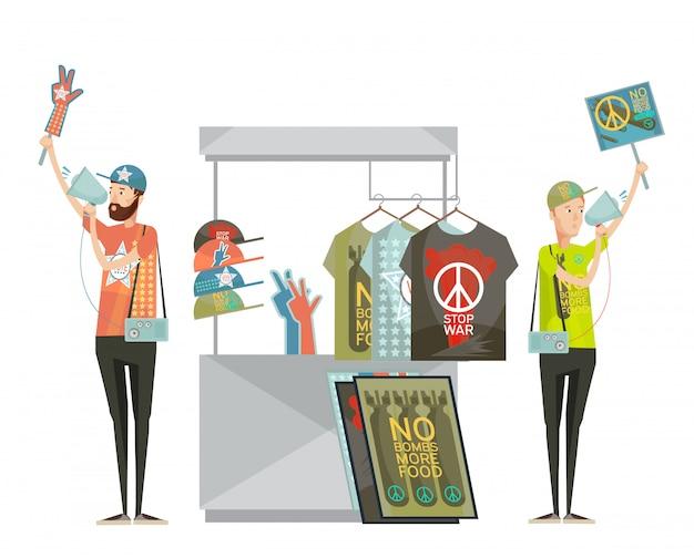 Composición de diseño de propaganda contra la guerra con dos hombres jóvenes que publicitan camisetas sin dibujos animados de símbolos de guerra