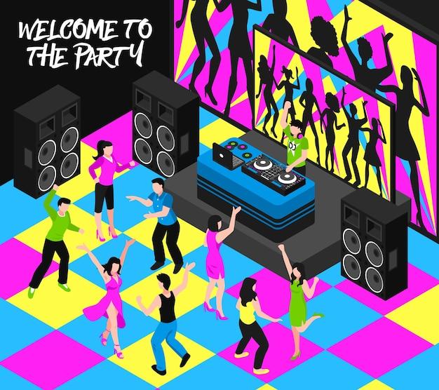 Composición de dj y fiesta con entretenimiento nocturno y símbolos musicales isométricos.