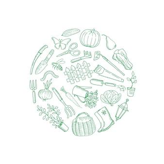 Composición de doodle de jardinería de vector redondeado