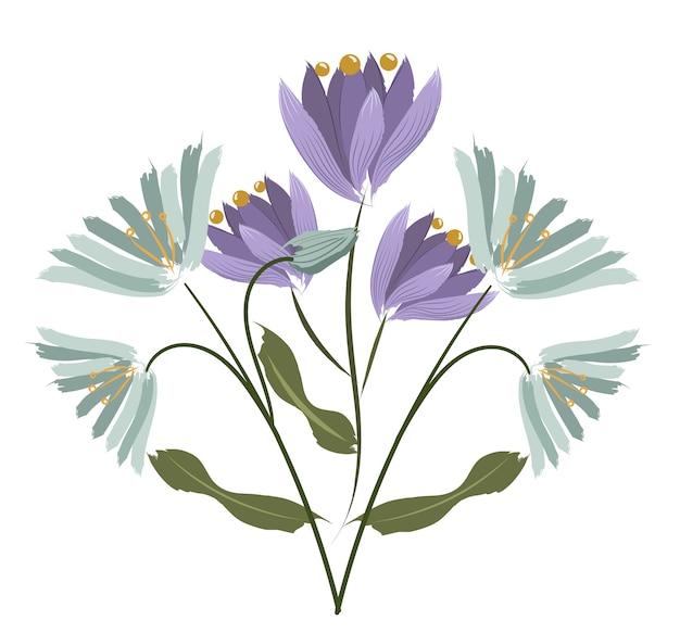 Composición de dos especies de flores. crocus y agapanthus