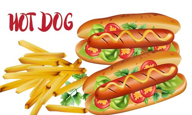 Composición de dos hot dogs con tomates cherry, albahaca, perejil y mostaza, cerca de una porción de papas fritas