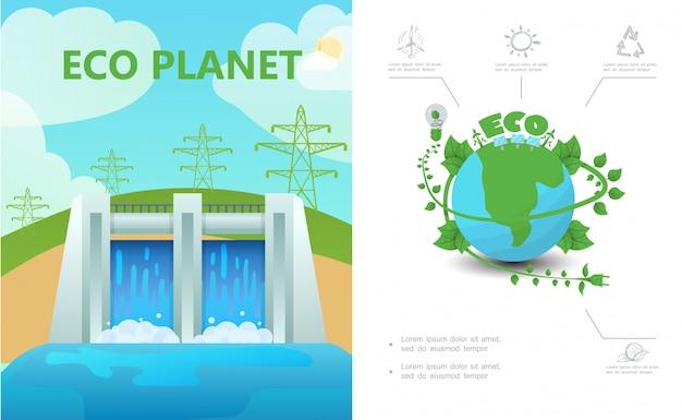 Composición de ecología plana con líneas de alta tensión de la estación hidroeléctrica eco planeta bombilla sol signo de reciclaje