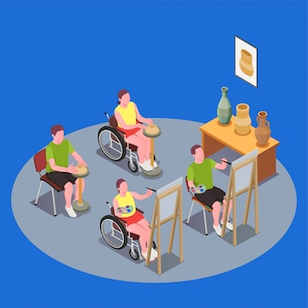 Composición de educación inclusiva con personas en sillas de ruedas con clase de arte 3d